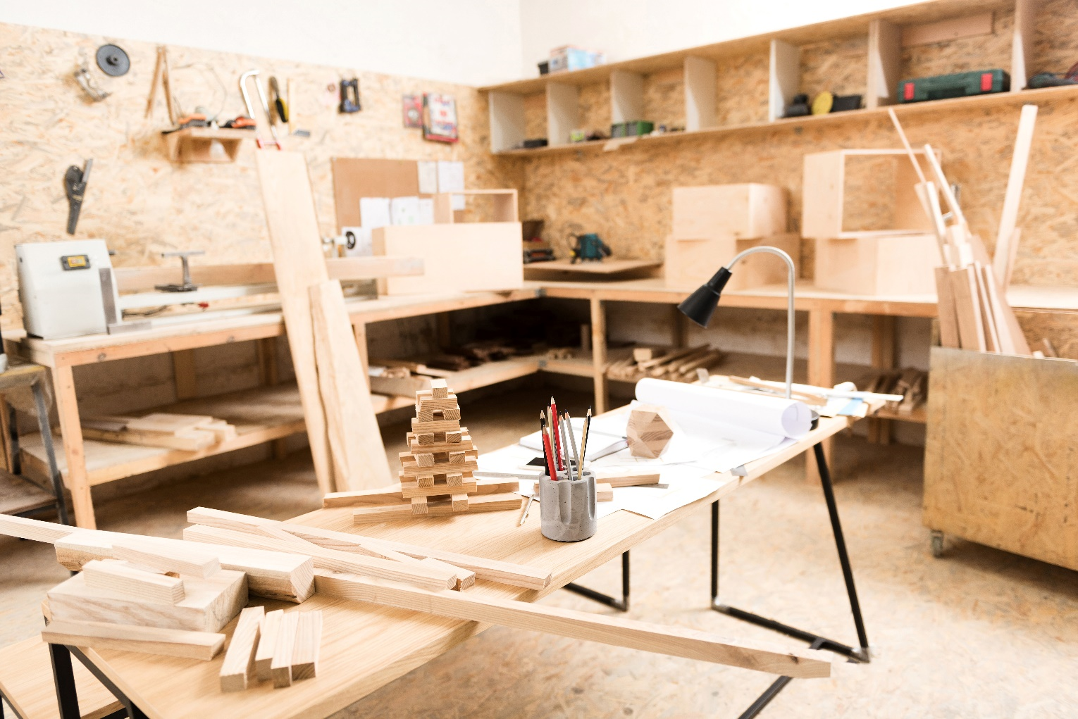 A wood-working workshop.